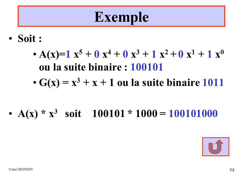 Yonel GRUSSON 58 Exemple Soit : A(x)=1 x 5 + 0 x 4 + 0 x 3 + 1 x 2 + 0 x 1 + 1 x 0 ou la suite binaire : 100101 G(x) = x 3 + x + 1 ou la suite binaire