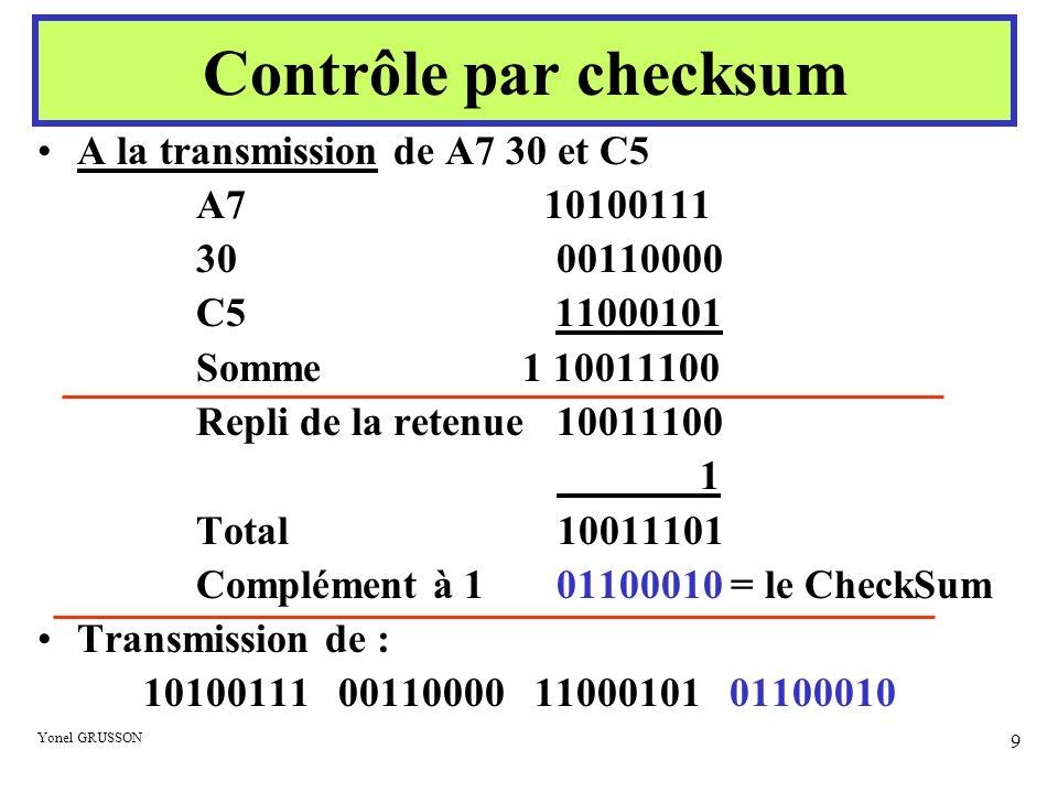 Yonel GRUSSON 10 A la réception : Checksum reçu 01100010 OU Checksum recalculé (avant complément à 1) 10011101 Vérification 11111111 (Avec l opérateur ET le résultat serait 00000000) Contrôle par checksum