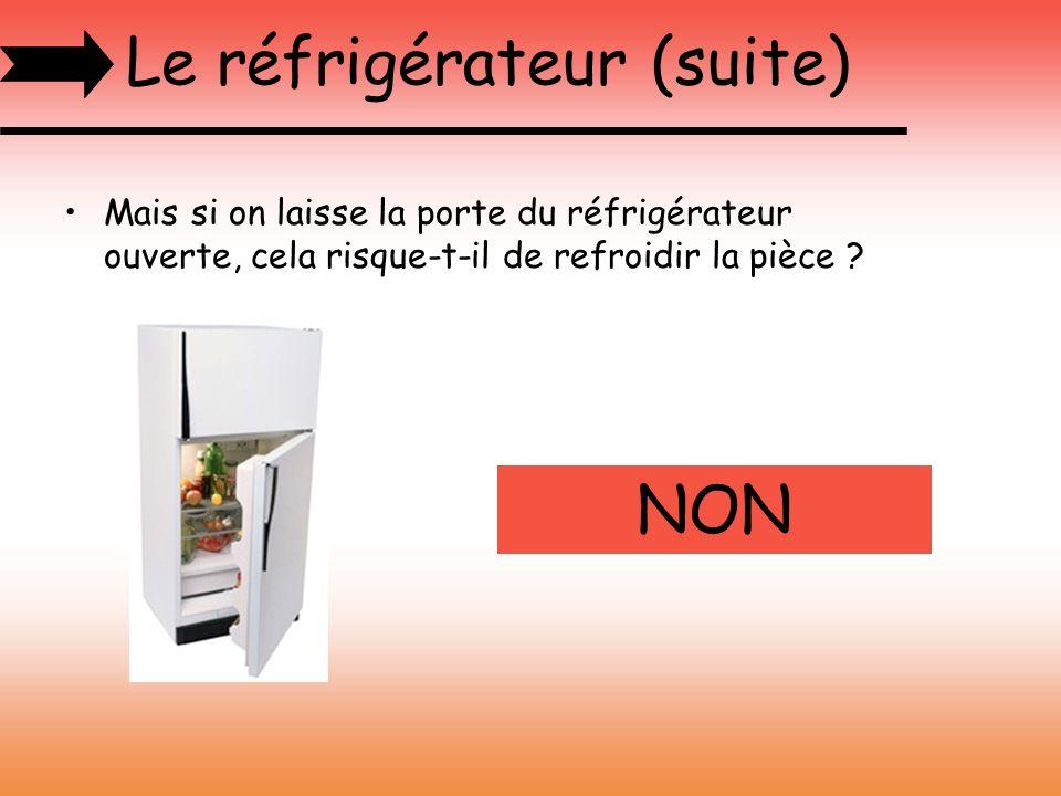 Le réfrigérateur (suite) Mais si on laisse la porte du réfrigérateur ouverte, cela risque-t-il de refroidir la pièce ? NON