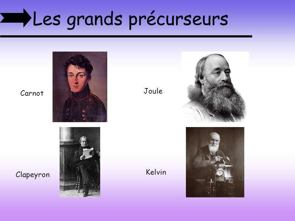 Les grands précurseurs Clapeyron Kelvin Carnot Joule