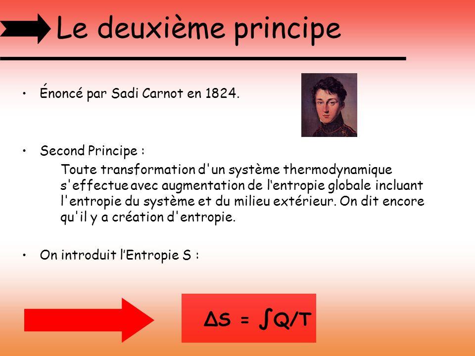 Le troisième principe Principe de Nernst, datant de 1904, énonce que : « À la limite du zéro absolu, température qui ne saurait être atteinte, lentropie d équilibre d un système tend vers une constante indépendantes autres paramètres intensifs, constante qui est prise nulle, si possible.