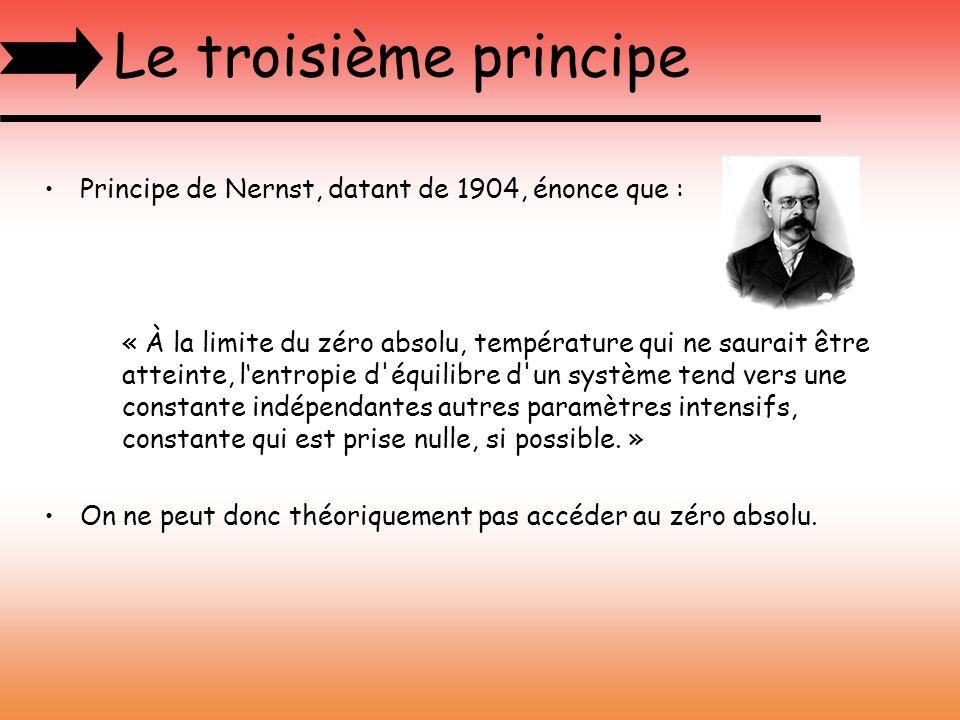 Le troisième principe Principe de Nernst, datant de 1904, énonce que : « À la limite du zéro absolu, température qui ne saurait être atteinte, lentrop