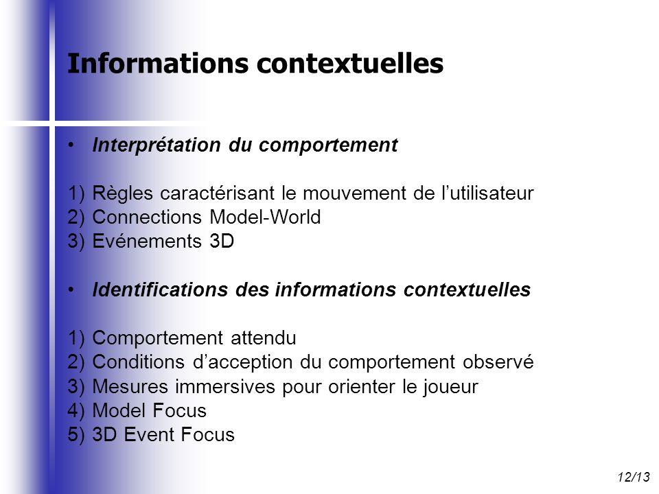 Interprétation du comportement 1)Règles caractérisant le mouvement de lutilisateur 2)Connections Model-World 3)Evénements 3D Identifications des informations contextuelles 1)Comportement attendu 2)Conditions dacception du comportement observé 3)Mesures immersives pour orienter le joueur 4)Model Focus 5)3D Event Focus 12/13 Informations contextuelles