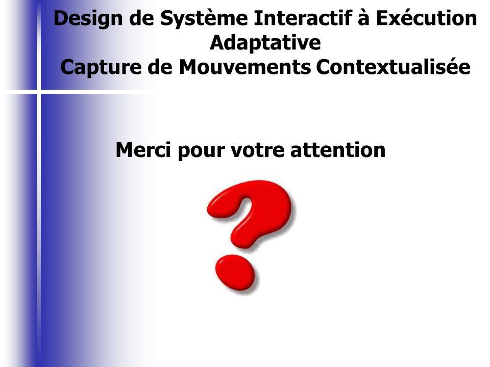 Merci pour votre attention Design de Système Interactif à Exécution Adaptative Capture de Mouvements Contextualisée