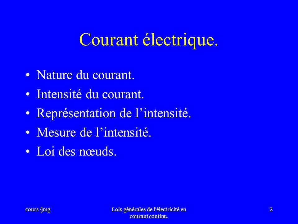 cours /jmgLois générales de l'électricité en courant continu. 1 1.Courants et tensions. Courant électrique. Potentiel – tensions. Dipôles. Puissance e