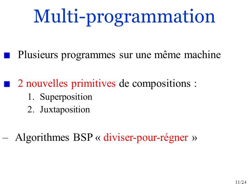 11/24 Plusieurs programmes sur une même machine 2 nouvelles primitives de compositions : 1.Superposition 2.Juxtaposition –Algorithmes BSP « diviser-pour-régner » Multi-programmation