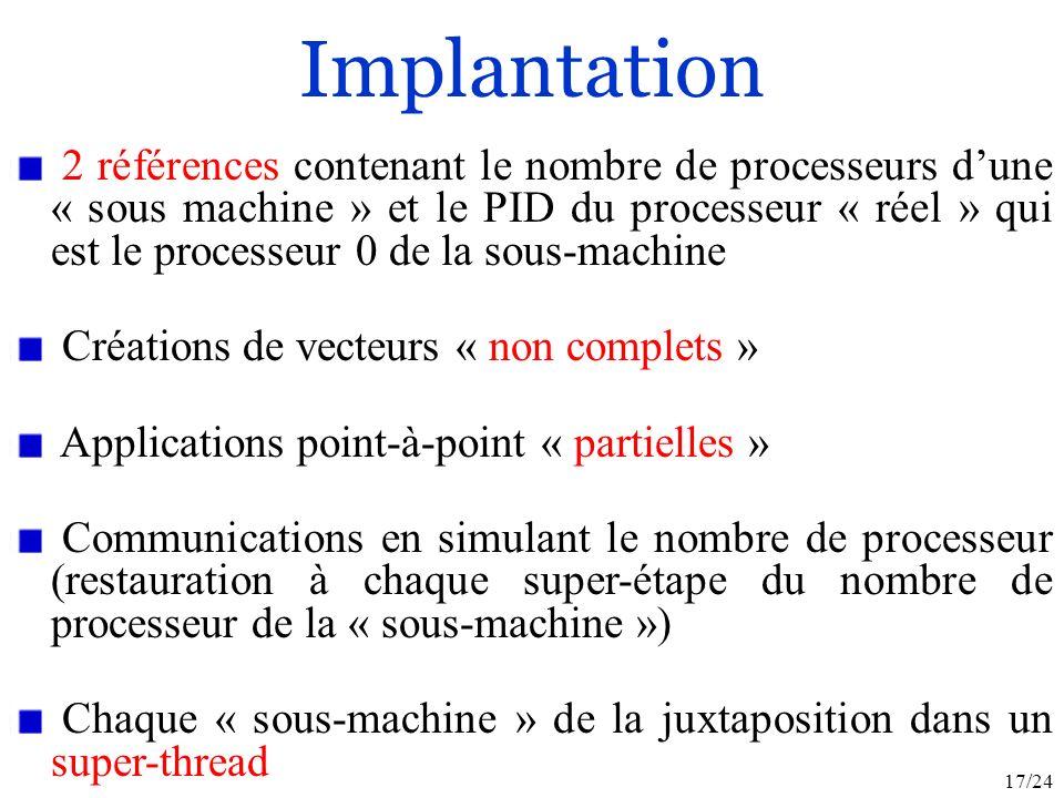 17/24 Implantation 2 références contenant le nombre de processeurs dune « sous machine » et le PID du processeur « réel » qui est le processeur 0 de la sous-machine Créations de vecteurs « non complets » Applications point-à-point « partielles » Communications en simulant le nombre de processeur (restauration à chaque super-étape du nombre de processeur de la « sous-machine ») Chaque « sous-machine » de la juxtaposition dans un super-thread