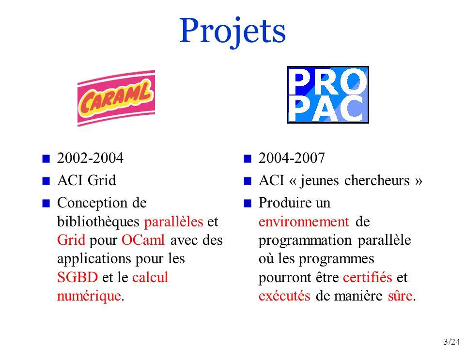 3/24 Projets 2002-2004 ACI Grid Conception de bibliothèques parallèles et Grid pour OCaml avec des applications pour les SGBD et le calcul numérique.