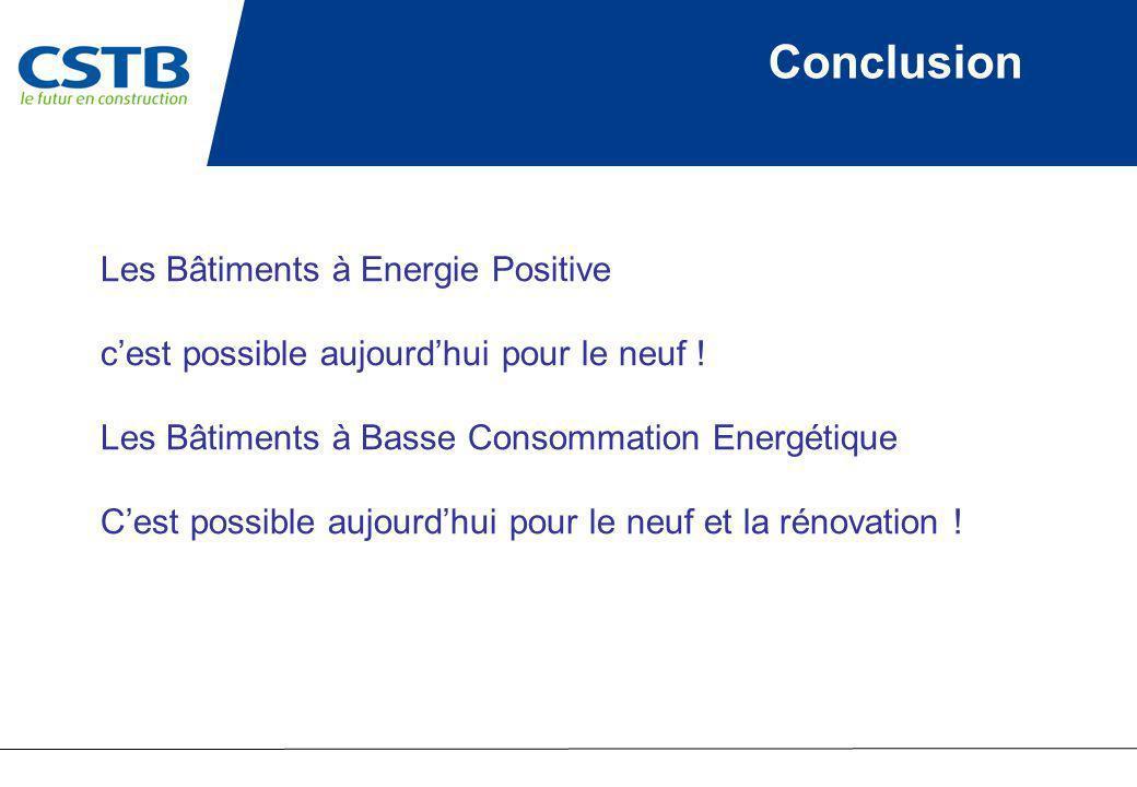 Conclusion Les Bâtiments à Energie Positive cest possible aujourdhui pour le neuf ! Les Bâtiments à Basse Consommation Energétique Cest possible aujou