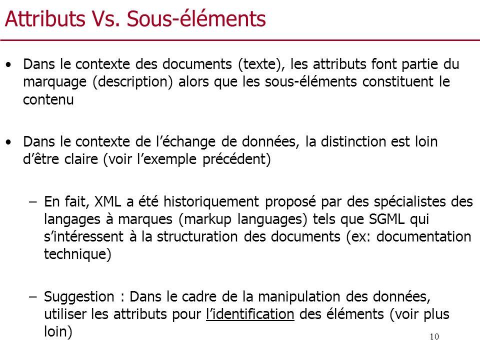 10 Attributs Vs. Sous-éléments Dans le contexte des documents (texte), les attributs font partie du marquage (description) alors que les sous-éléments
