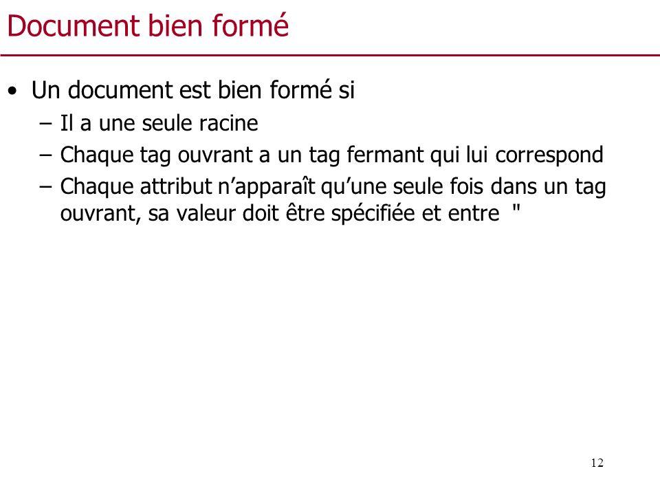 12 Document bien formé Un document est bien formé si –Il a une seule racine –Chaque tag ouvrant a un tag fermant qui lui correspond –Chaque attribut n