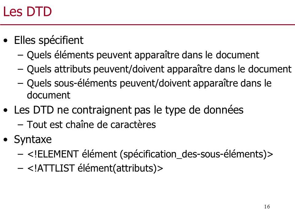 16 Les DTD Elles spécifient –Quels éléments peuvent apparaître dans le document –Quels attributs peuvent/doivent apparaître dans le document –Quels so