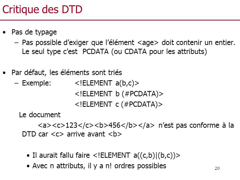 20 Critique des DTD Pas de typage –Pas possible dexiger que lélément doit contenir un entier. Le seul type cest PCDATA (ou CDATA pour les attributs) P