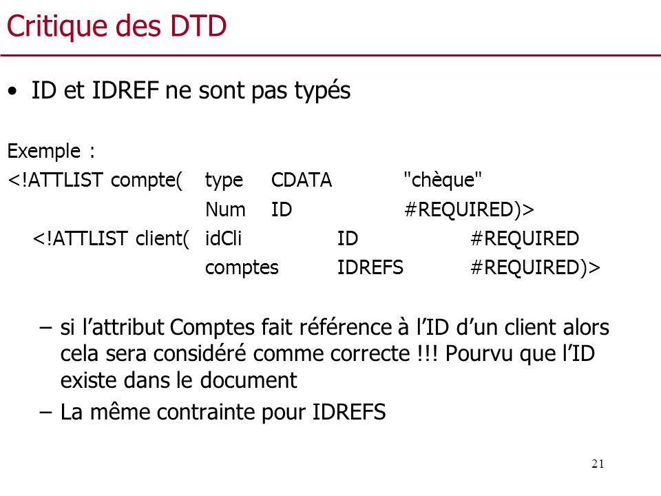 21 Critique des DTD ID et IDREF ne sont pas typés Exemple : <!ATTLIST compte(type CDATA
