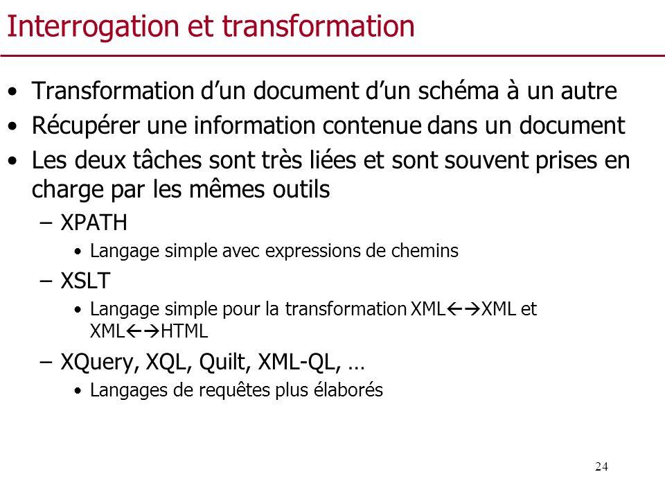 24 Interrogation et transformation Transformation dun document dun schéma à un autre Récupérer une information contenue dans un document Les deux tâch