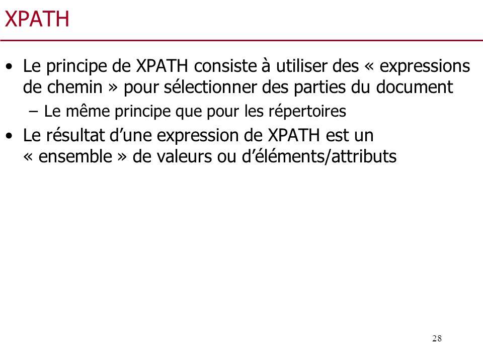 28 XPATH Le principe de XPATH consiste à utiliser des « expressions de chemin » pour sélectionner des parties du document –Le même principe que pour l