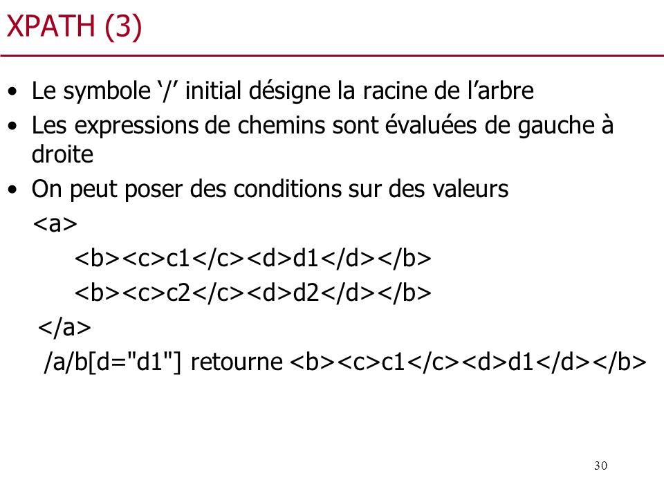 30 XPATH (3) Le symbole / initial désigne la racine de larbre Les expressions de chemins sont évaluées de gauche à droite On peut poser des conditions