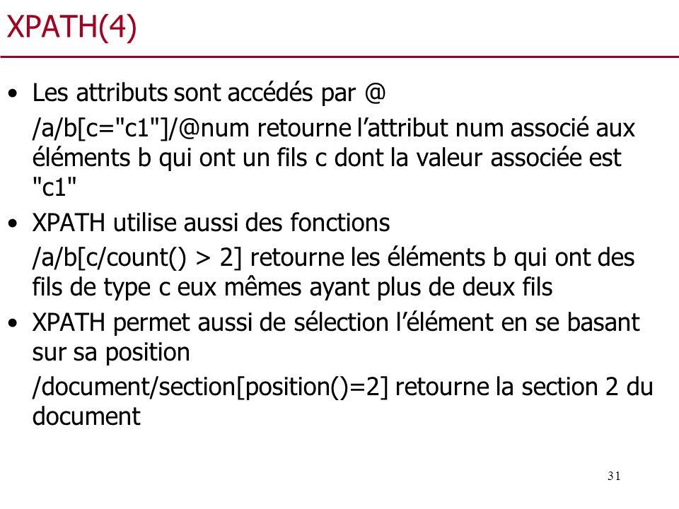 31 XPATH(4) Les attributs sont accédés par @ /a/b[c=