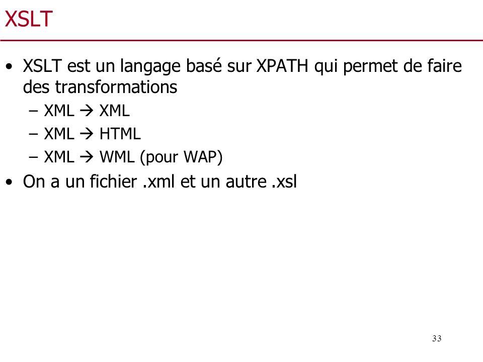 33 XSLT XSLT est un langage basé sur XPATH qui permet de faire des transformations –XML XML –XML HTML –XML WML (pour WAP) On a un fichier.xml et un au