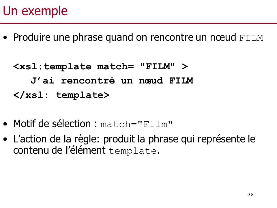 38 Un exemple Produire une phrase quand on rencontre un nœud FILM Jai rencontré un nœud FILM Motif de sélection : match=