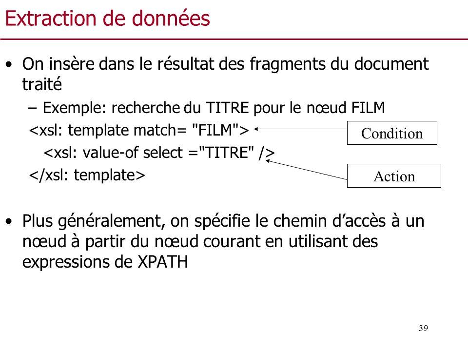 39 Extraction de données On insère dans le résultat des fragments du document traité –Exemple: recherche du TITRE pour le nœud FILM Plus généralement,