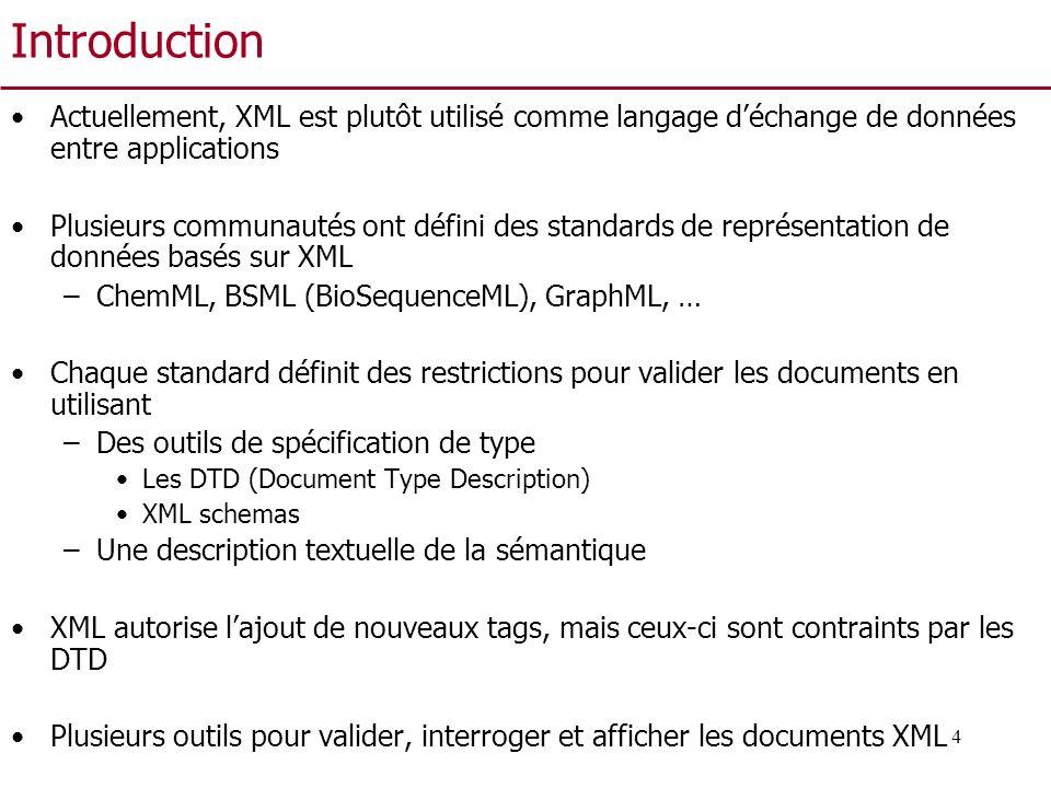 4 Introduction Actuellement, XML est plutôt utilisé comme langage déchange de données entre applications Plusieurs communautés ont défini des standard