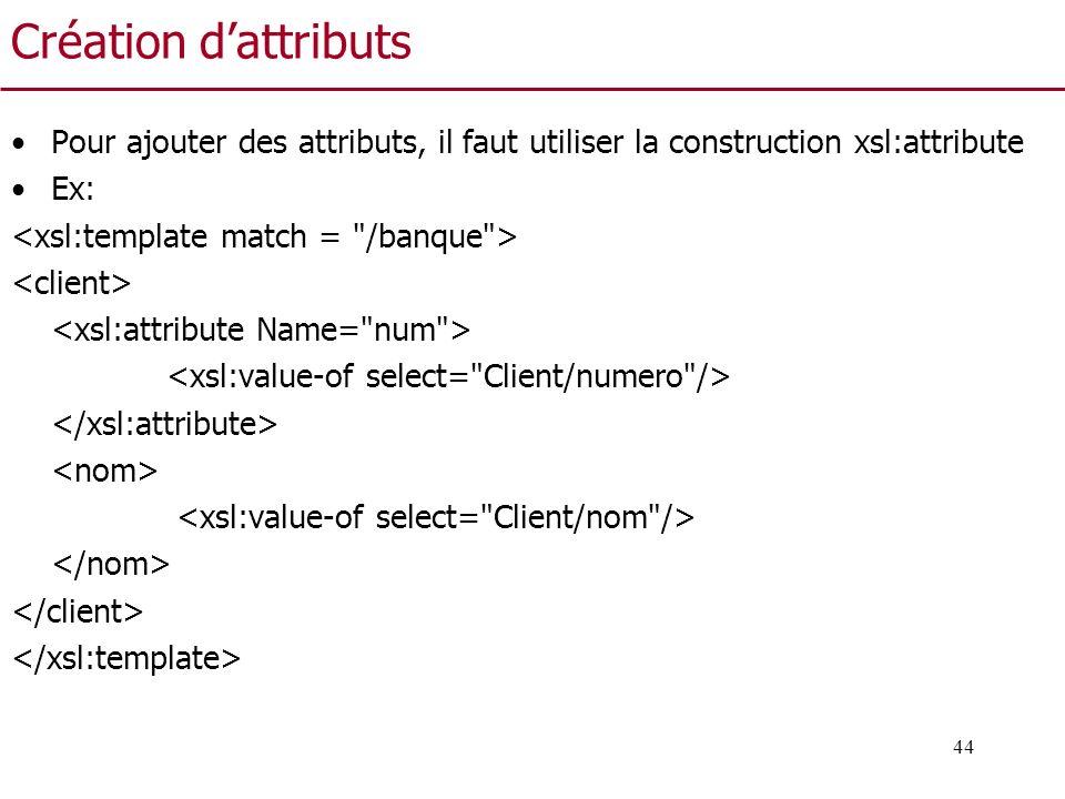 44 Création dattributs Pour ajouter des attributs, il faut utiliser la construction xsl:attribute Ex: