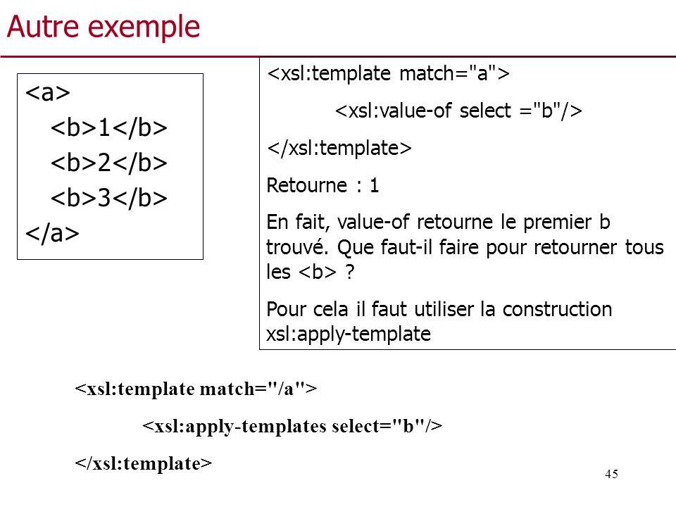 45 Autre exemple 1 2 3 Retourne : 1 En fait, value-of retourne le premier b trouvé. Que faut-il faire pour retourner tous les ? Pour cela il faut util