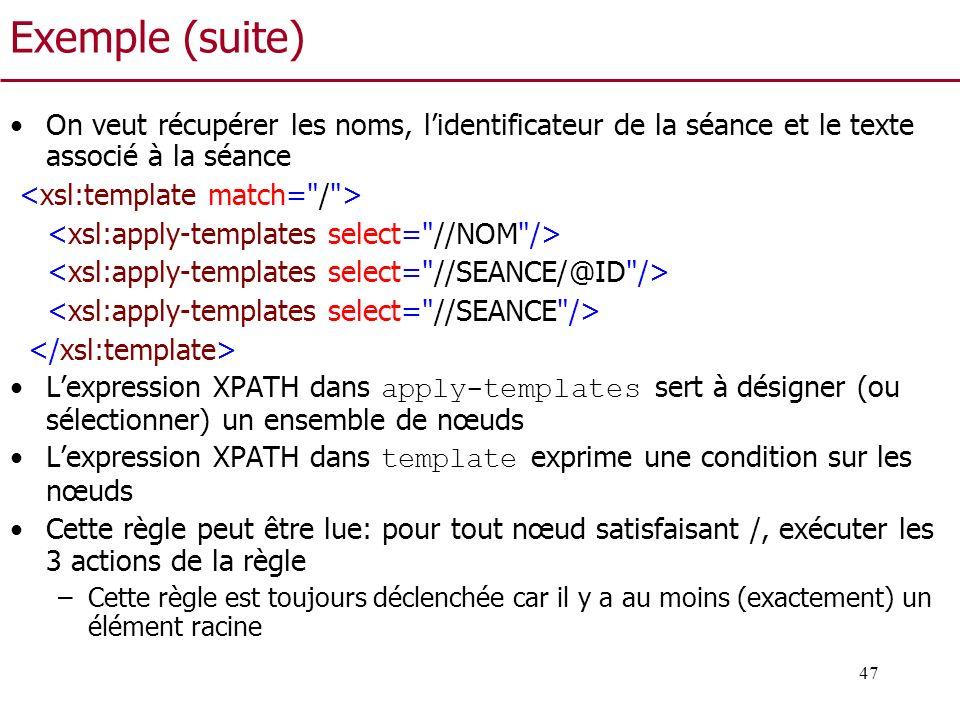 47 Exemple (suite) On veut récupérer les noms, lidentificateur de la séance et le texte associé à la séance Lexpression XPATH dans apply-templates ser