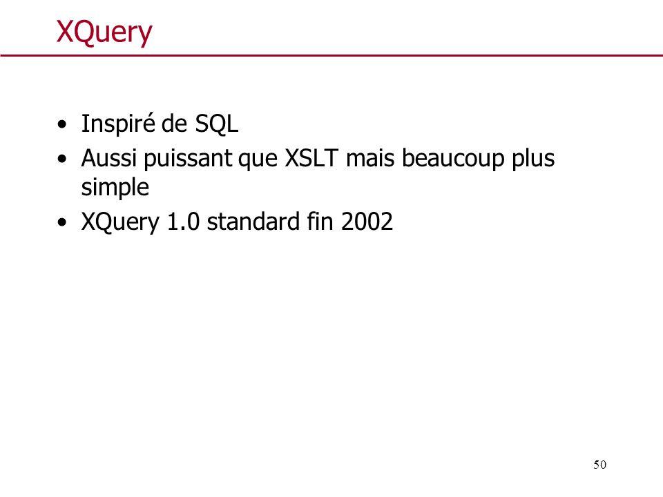 50 XQuery Inspiré de SQL Aussi puissant que XSLT mais beaucoup plus simple XQuery 1.0 standard fin 2002