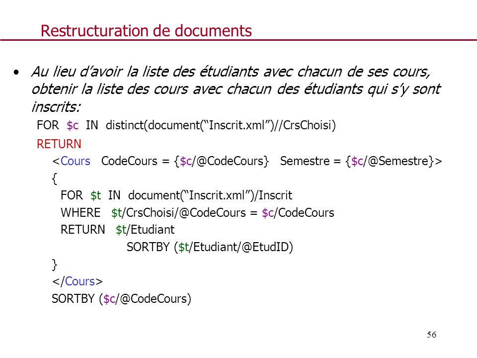 56 Restructuration de documents Au lieu davoir la liste des étudiants avec chacun de ses cours, obtenir la liste des cours avec chacun des étudiants q