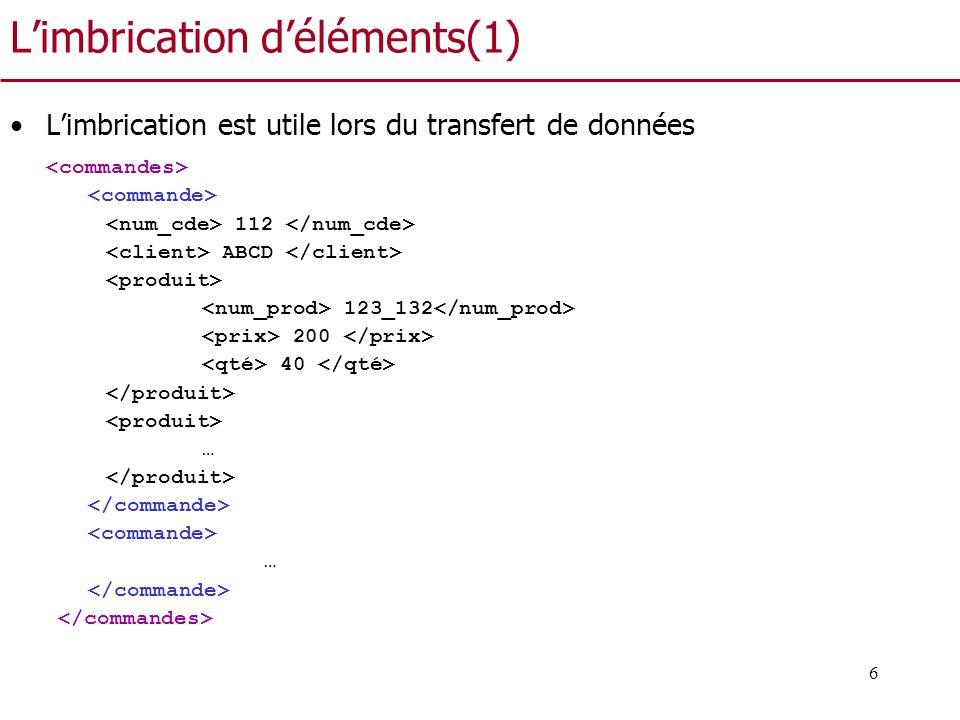 7 Limbrication déléments (2) Limbrication est prohibée ou découragée dans les bases de données relationnelles –La théorie de la normalisation nous incite à ne pas créer la table Cde(NumC, DateC, NumProduit, num_cl, nom_cli, Prix, Quantité) –En BD relationnelle, limbrication est remplacée par le concept de clé étrangère Cde(NumC, DateC, num_cl), Cli(num_cl, nom_cli), CP(NumC, numP, quantité), Prod(NumProduit, Prix) –Limbrication est appropriée quand il faut transférer les données car les application externes nont pas un accès direct aux données référencées par les clés étrangères