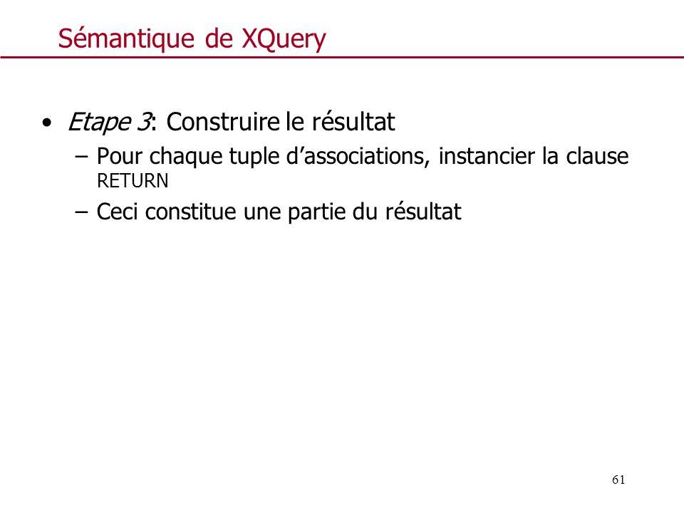 61 Sémantique de XQuery Etape 3: Construire le résultat –Pour chaque tuple dassociations, instancier la clause RETURN –Ceci constitue une partie du ré