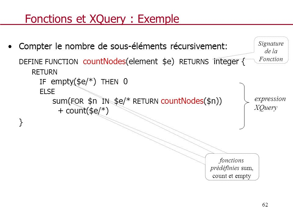 62 Fonctions et XQuery : Exemple Compter le nombre de sous-éléments récursivement: DEFINE FUNCTION countNodes(element $e) RETURNS integer { RETURN IF