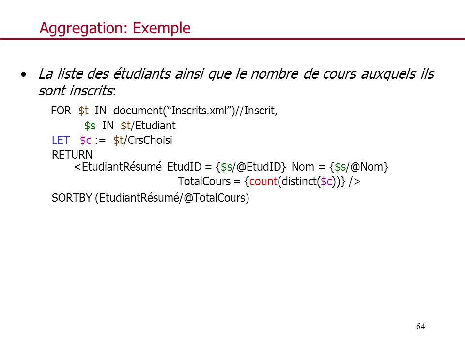 64 Aggregation: Exemple La liste des étudiants ainsi que le nombre de cours auxquels ils sont inscrits: FOR $t IN document(Inscrits.xml)//Inscrit, $s