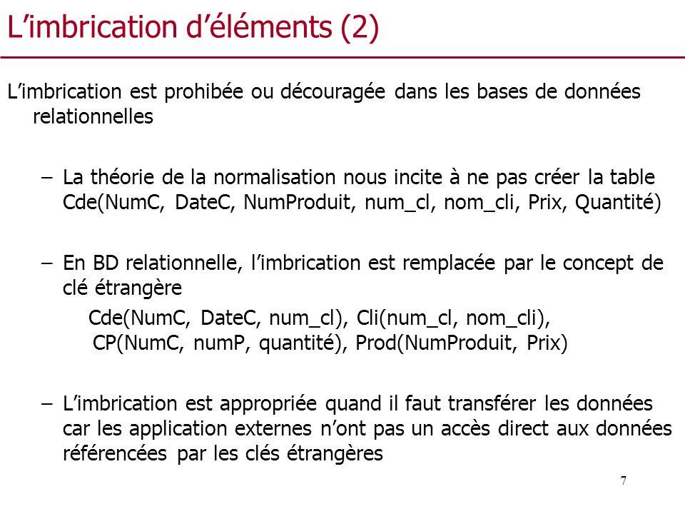 7 Limbrication déléments (2) Limbrication est prohibée ou découragée dans les bases de données relationnelles –La théorie de la normalisation nous inc