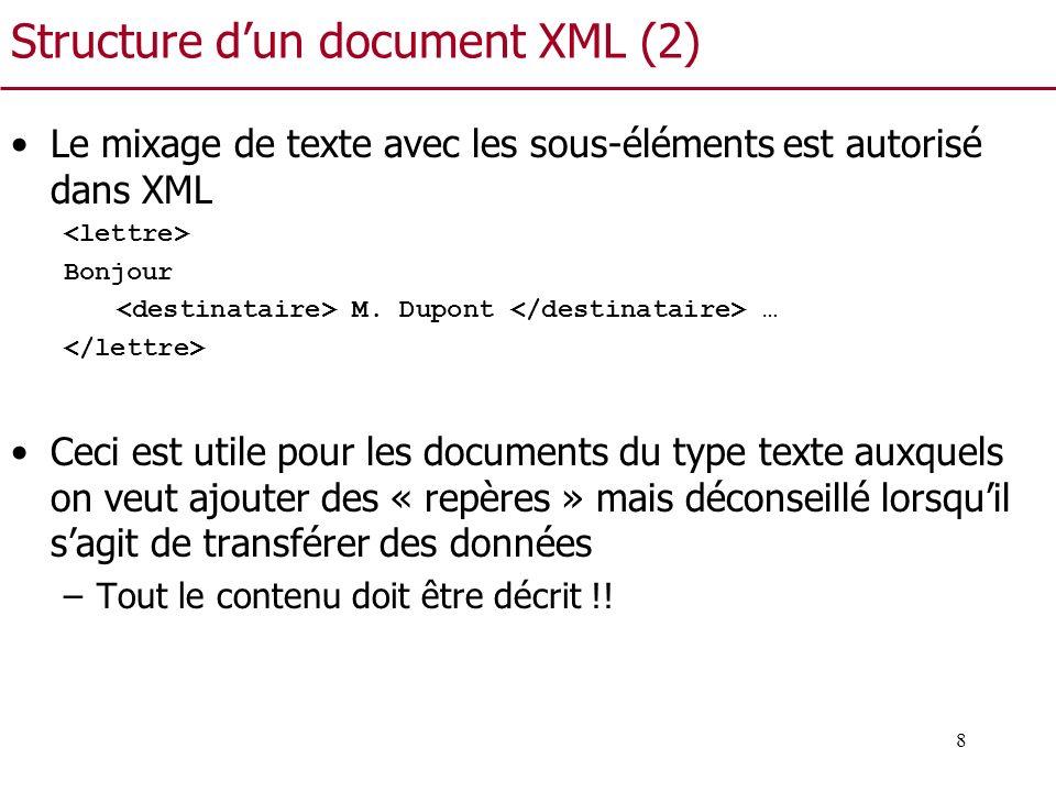 8 Structure dun document XML (2) Le mixage de texte avec les sous-éléments est autorisé dans XML Bonjour M. Dupont … Ceci est utile pour les documents