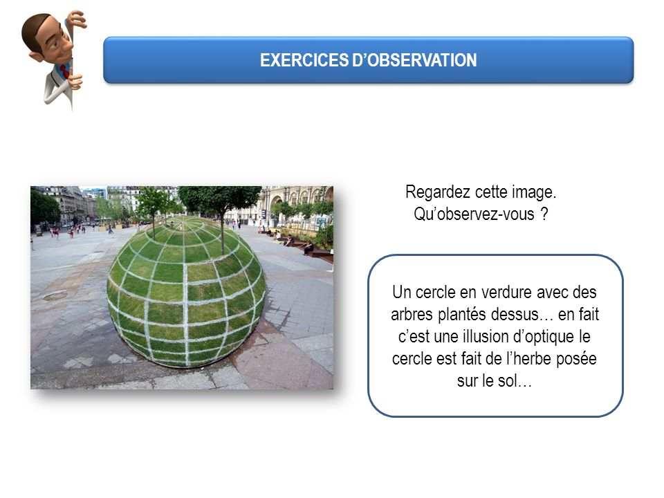 EXERCICES DOBSERVATION Regardez cette image. Quobservez-vous ? Un cercle en verdure avec des arbres plantés dessus… en fait cest une illusion doptique