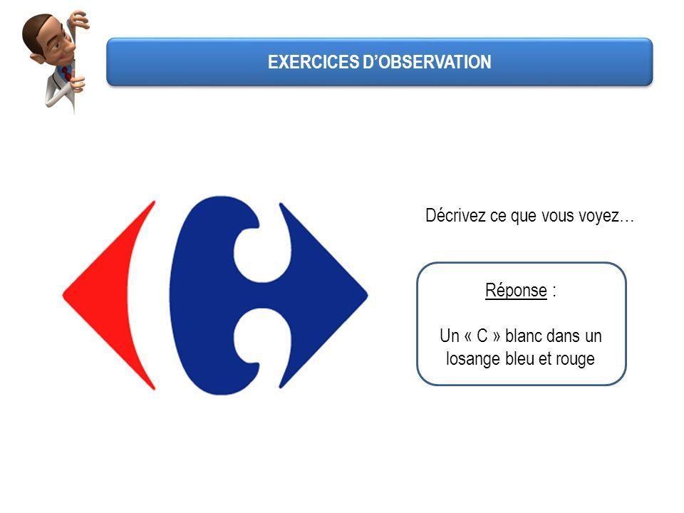Décrivez ce que vous voyez… Réponse : Un « C » blanc dans un losange bleu et rouge EXERCICES DOBSERVATION