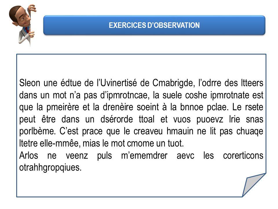 Le test de Cambridge : pouvez-vous lire ce texte ? Sleon une édtue de lUvinertisé de Cmabrigde, lodrre des ltteers dans un mot na pas dipmrotncae, la