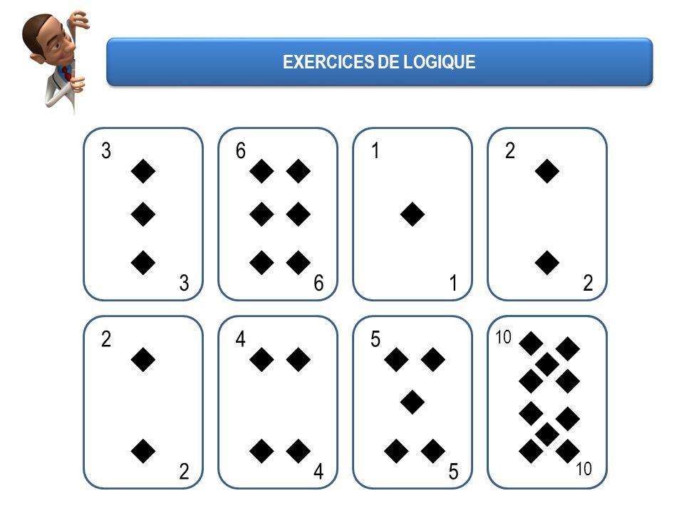 3 3 6 6 1 1 2 2 2 2 4 4 5 5 10 10 EXERCICES DE LOGIQUE