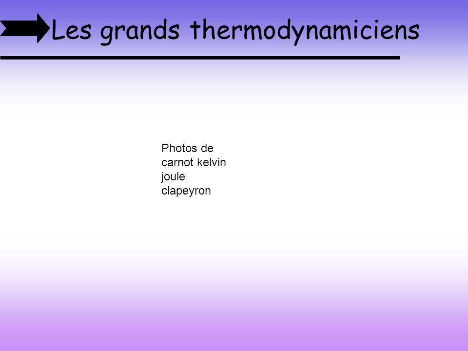 Les grands thermodynamiciens Photos de carnot kelvin joule clapeyron