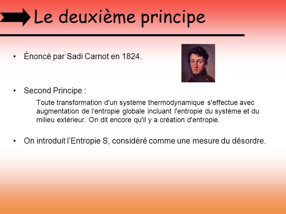 Le deuxième principe Énoncé par Sadi Carnot en 1824. Second Principe : Toute transformation d'un système thermodynamique s'effectue avec augmentation