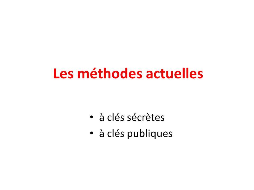 Les méthodes actuelles à clés sécrètes à clés publiques