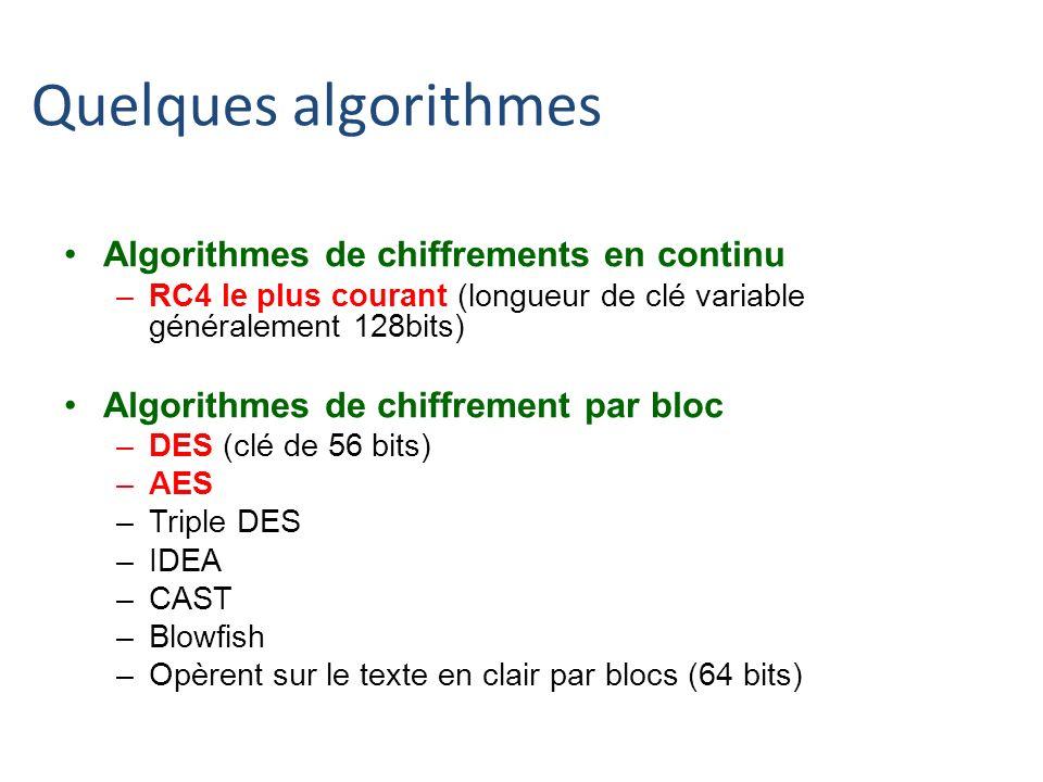 Quelques algorithmes Algorithmes de chiffrements en continu –RC4 le plus courant (longueur de clé variable généralement 128bits) Algorithmes de chiffr