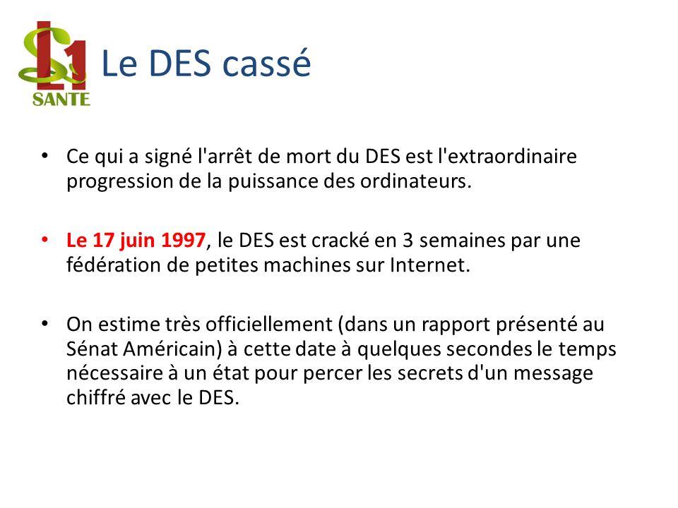 Le DES cassé Ce qui a signé l'arrêt de mort du DES est l'extraordinaire progression de la puissance des ordinateurs. Le 17 juin 1997, le DES est crack