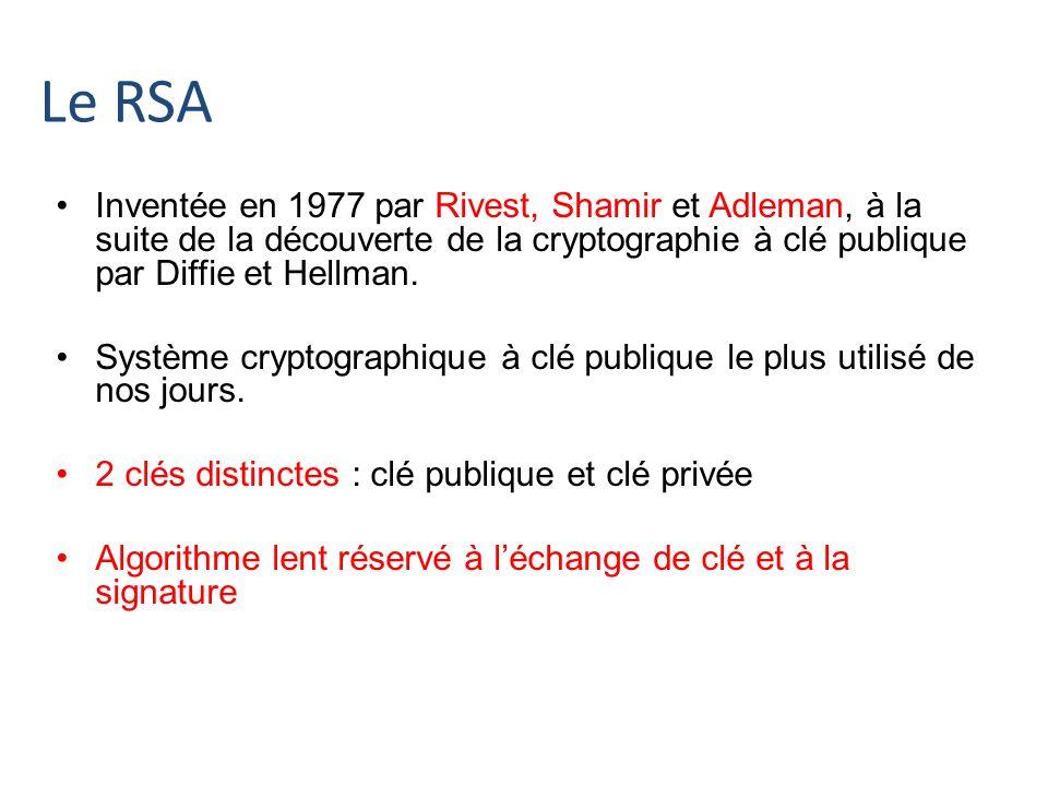 Le RSA Inventée en 1977 par Rivest, Shamir et Adleman, à la suite de la découverte de la cryptographie à clé publique par Diffie et Hellman. Système c
