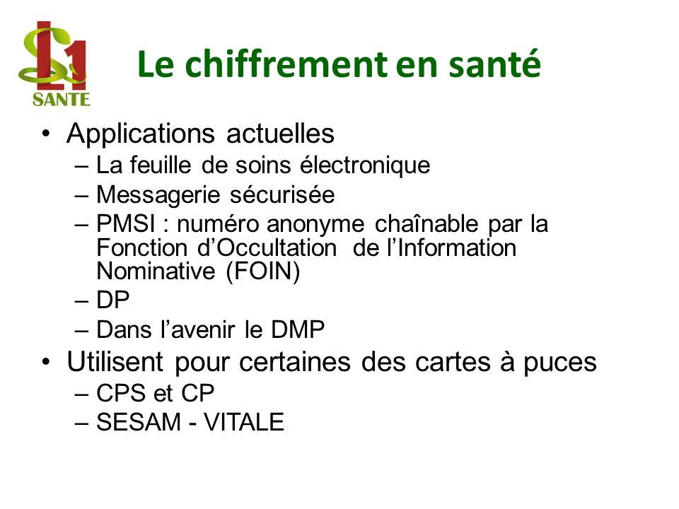 Le chiffrement en santé Applications actuelles –La feuille de soins électronique –Messagerie sécurisée –PMSI : numéro anonyme chaînable par la Fonctio