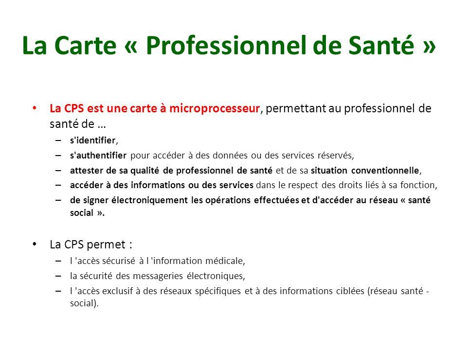 La Carte « Professionnel de Santé » La CPS est une carte à microprocesseur, permettant au professionnel de santé de … – s'identifier, – s'authentifier