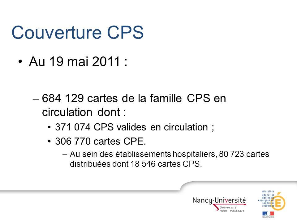 Couverture CPS Au 19 mai 2011 : –684 129 cartes de la famille CPS en circulation dont : 371 074 CPS valides en circulation ; 306 770 cartes CPE. –Au s